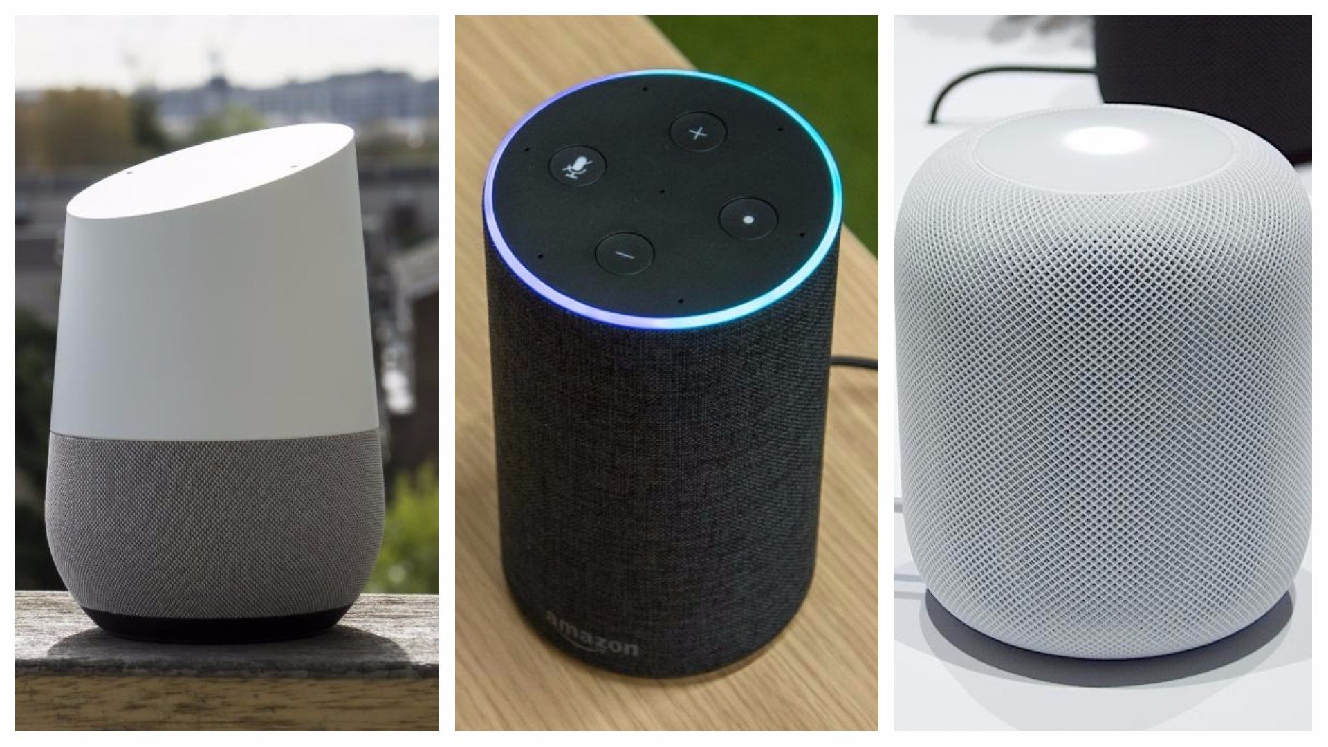google home vs amazon echo vs apple homepod which smart. Black Bedroom Furniture Sets. Home Design Ideas