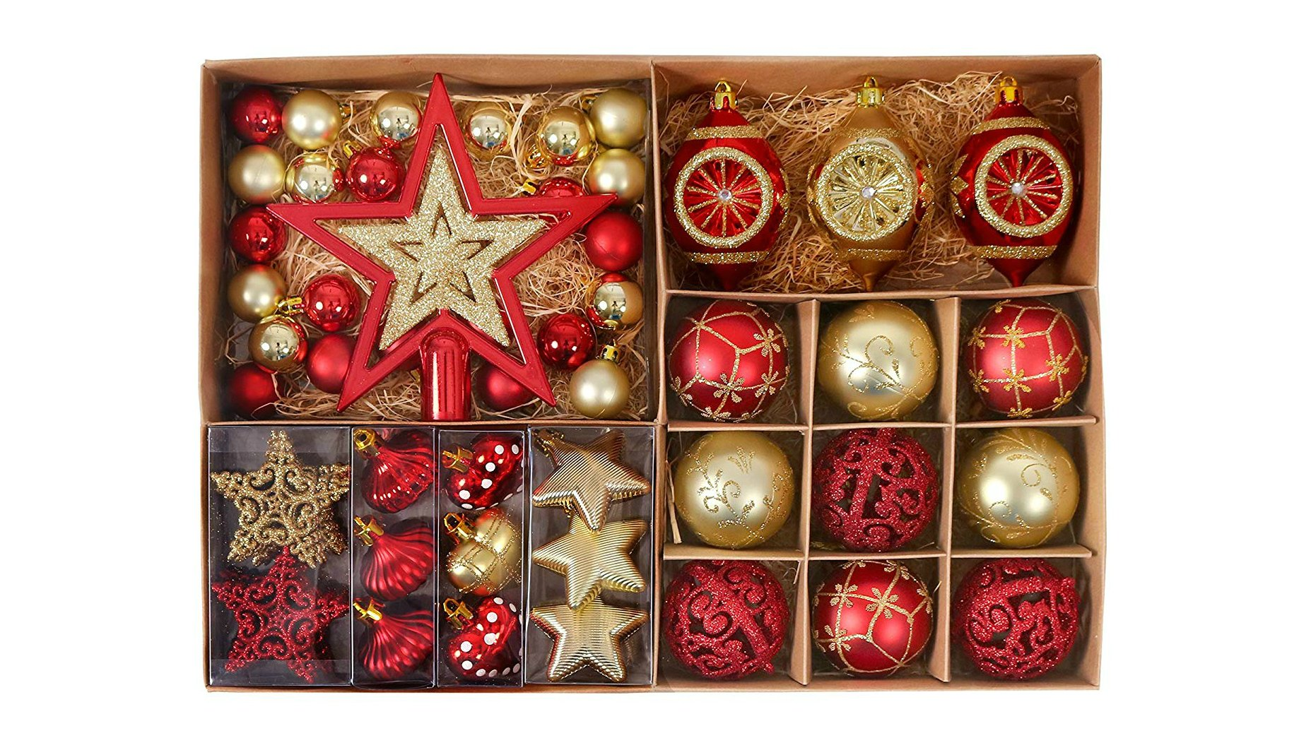 everything you need for your tree is right here is this jam packed box of goodies theres even the star for the top all in a red and gold theme - Best Christmas Tree Decorations