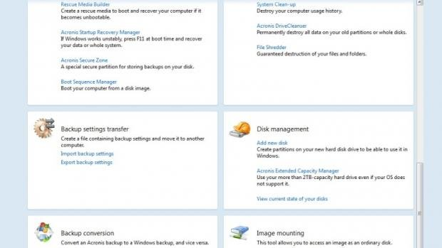 Acronis True Image 2014 Premium - Tools and Utilities Tab