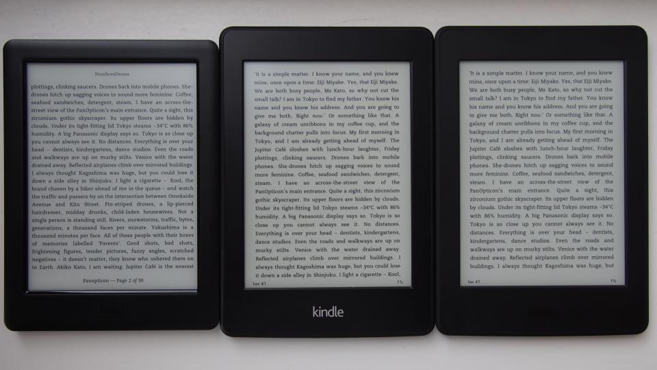 Kindle Paperwhite 2015 screen comparison