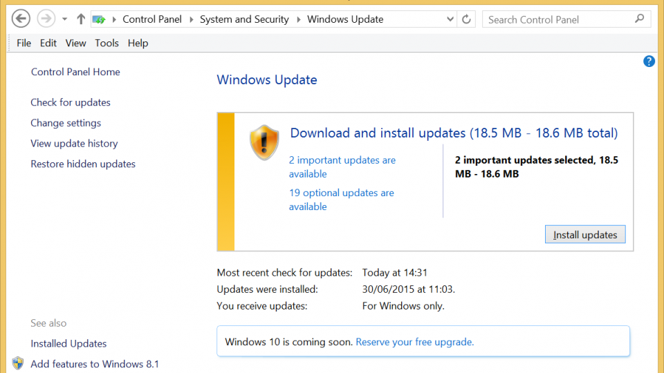 Upgrade to Windows 10 - run Windows Update