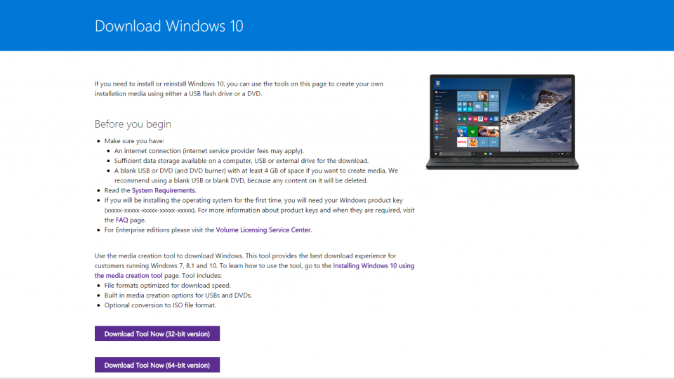 windows 10 download page