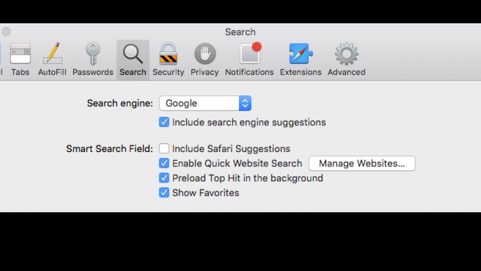 how to get search bar back on safari mac