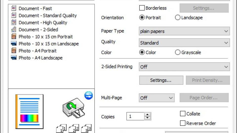 Epsons Print Driver Combines Quick Shortcuts With More Advanced Options