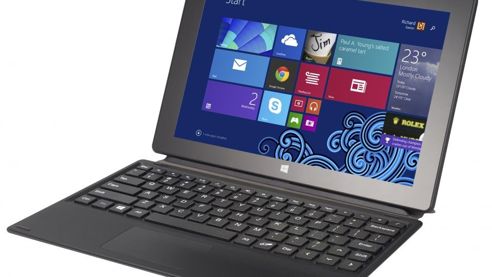 Schenker Element tablet front angle with keyboard case