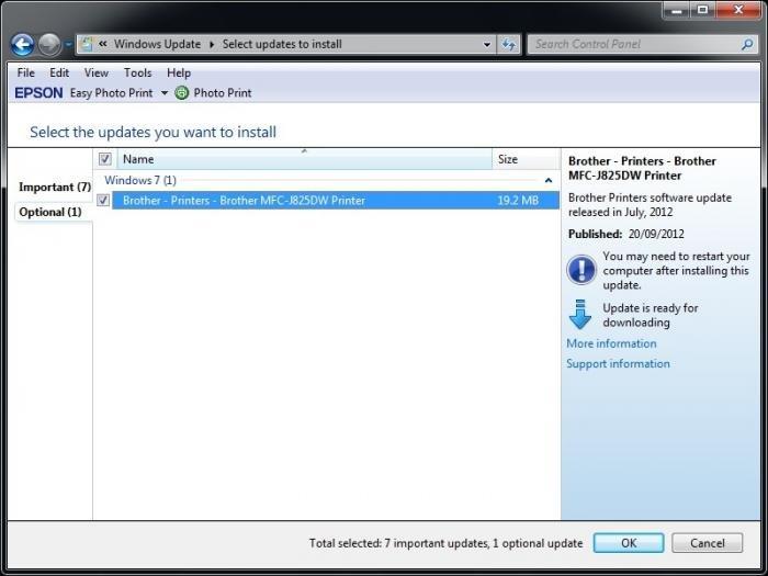 Brother MFC-J825DW Windows Update