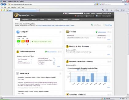 Symantec web control interface