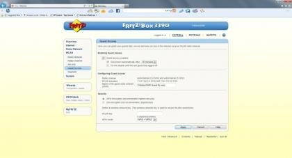 Fritz!Box 3390 Screenshot - Guest Wi-Fi Access