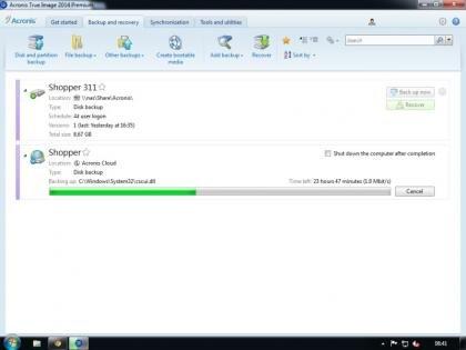 Acronis True Image 2014 -Online backup in progress