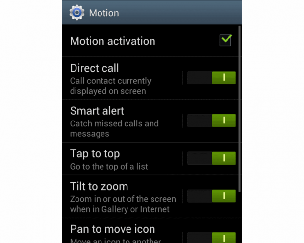 Samsung Galaxy S3 LTE gestures