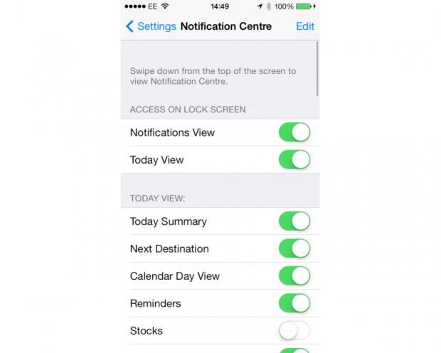 Apple iOS 7 Notification settings