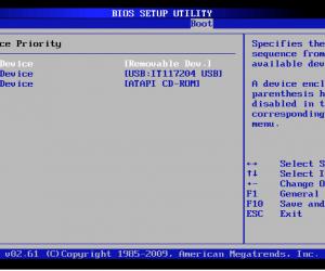 BIOS boot menu showing USB drive