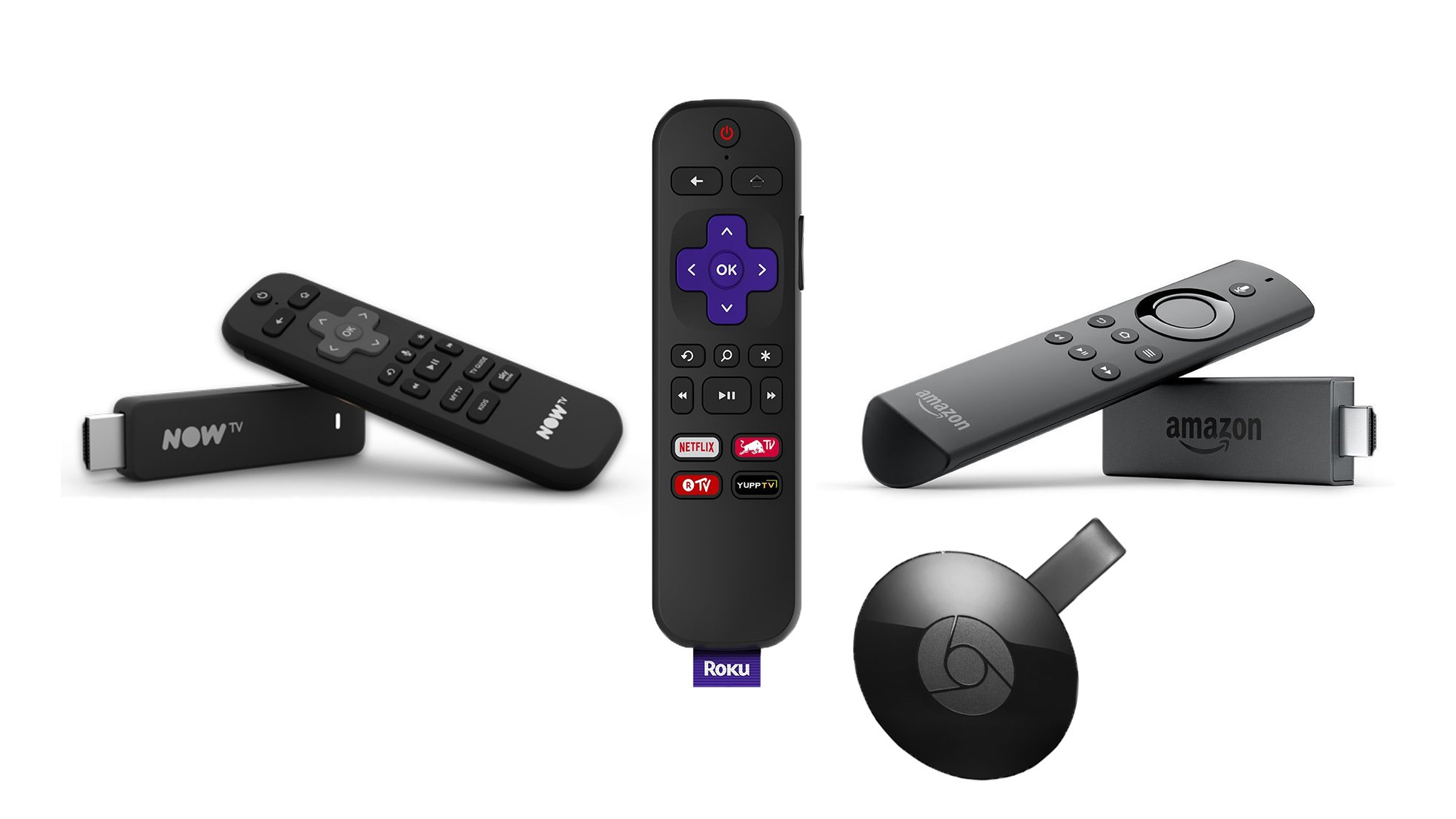 amazon fire tv stick vs chromecast vs now tv stick vs roku. Black Bedroom Furniture Sets. Home Design Ideas