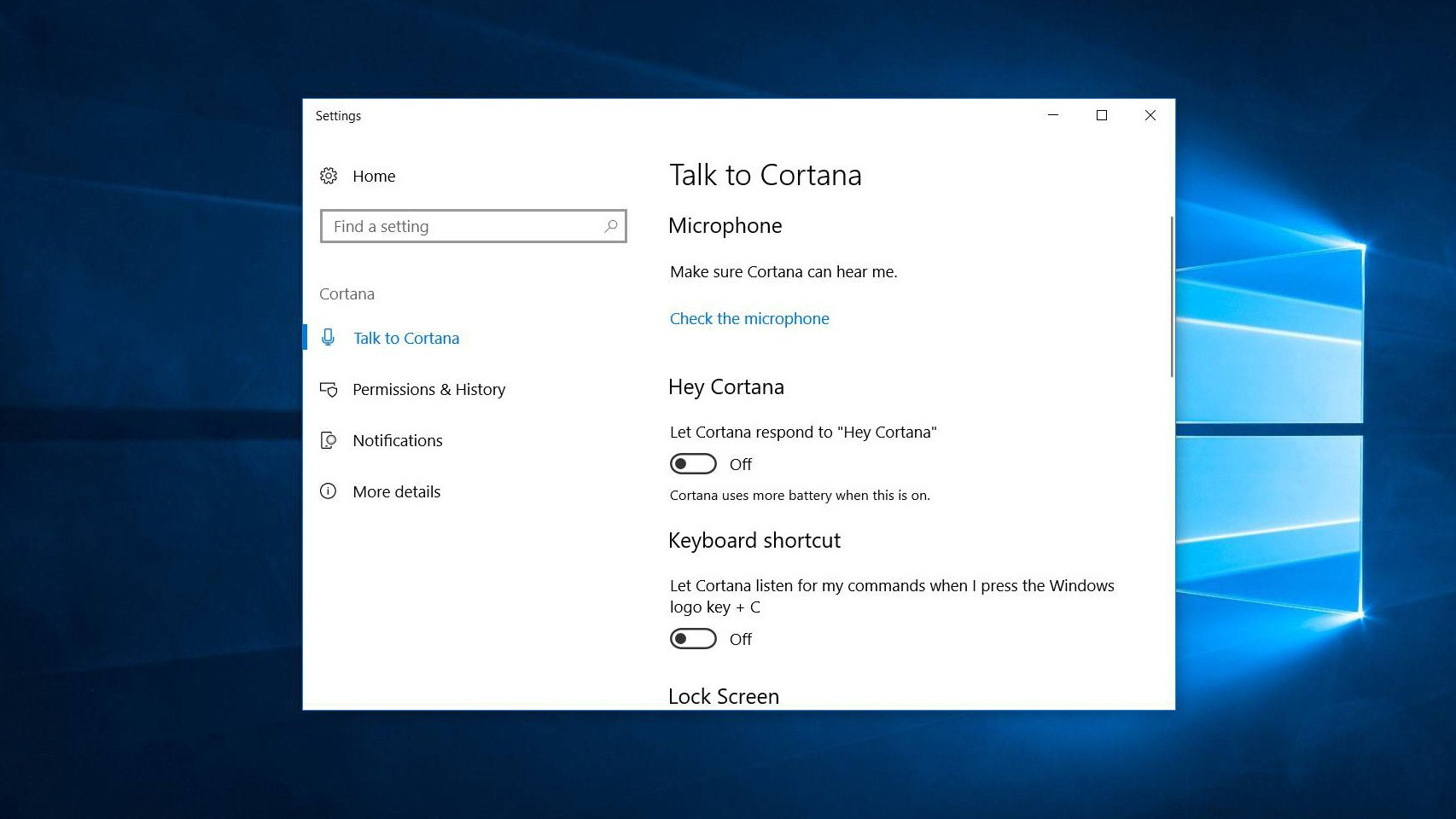 turn on cortana voice commands