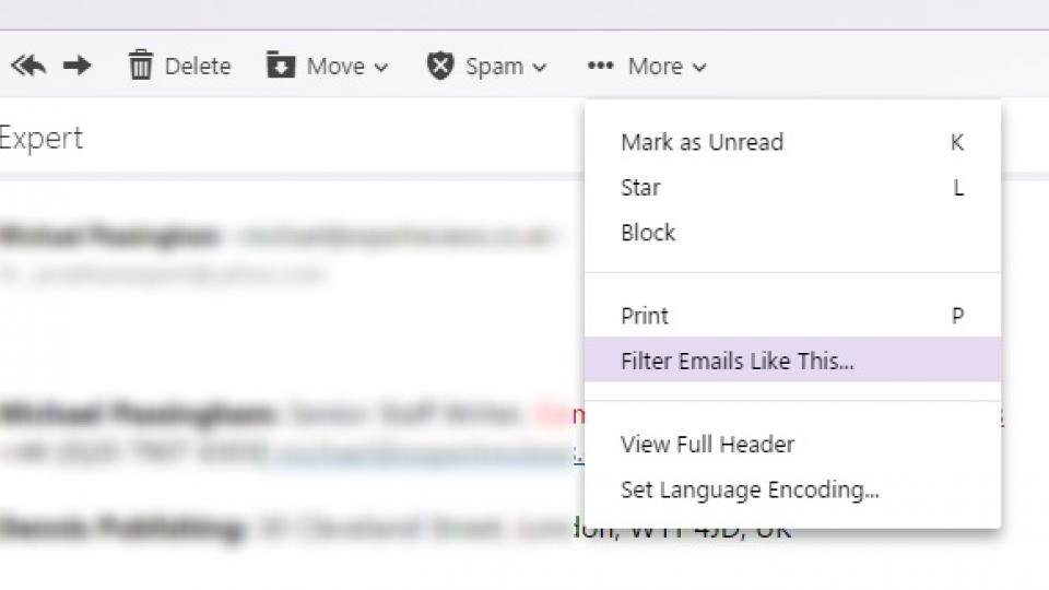 How can i block email in yahoo mail