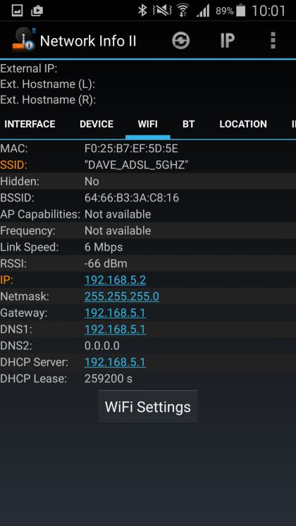 Network Info II IP address